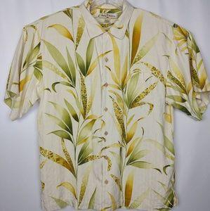Tommy Bahama Large Silk Tan Hawaiian Camp Shirt